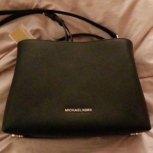Michael Kors black large EW leather satchel